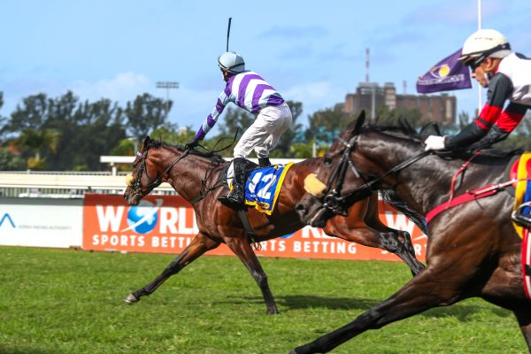 COLD SHIVERS: Jockey Warren Kennedy salutes the late Nooresh Juglall. (Pics: Candiese Lenferna)