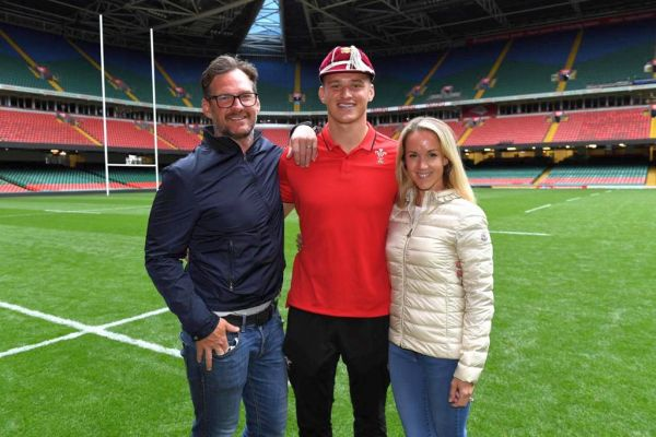 PROUD MOMENTS: My wife Lisa and I with Jimbo at the Principality Stadium.